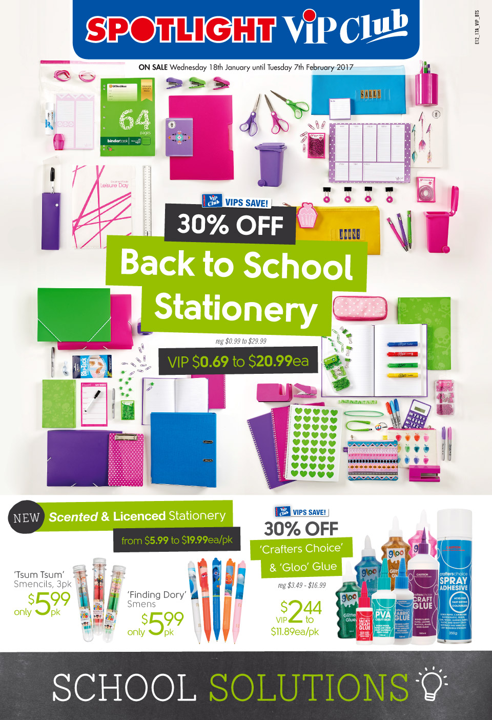 Spotlight Catalogue 18 January - 7 February 2017. VIP Back to School!