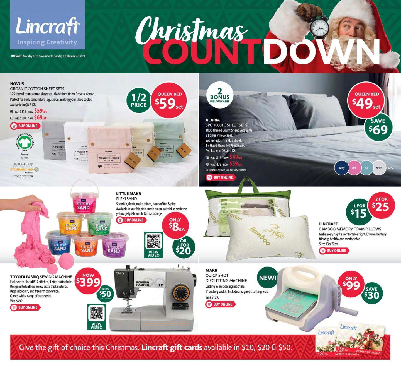 Lincraft Catalogue 11 November - 1st December 2019. Christmas Countdown!