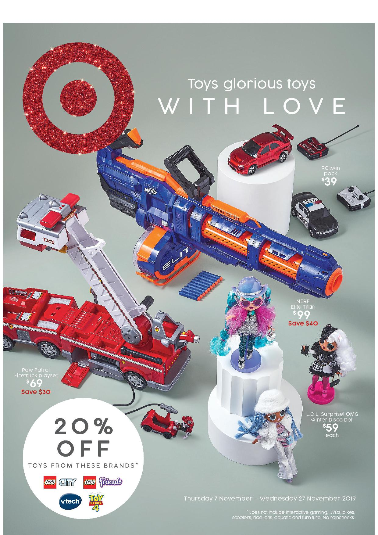 Target Catalogue 7 November - 27 November 2019. Toys Glorious Toys With Love!