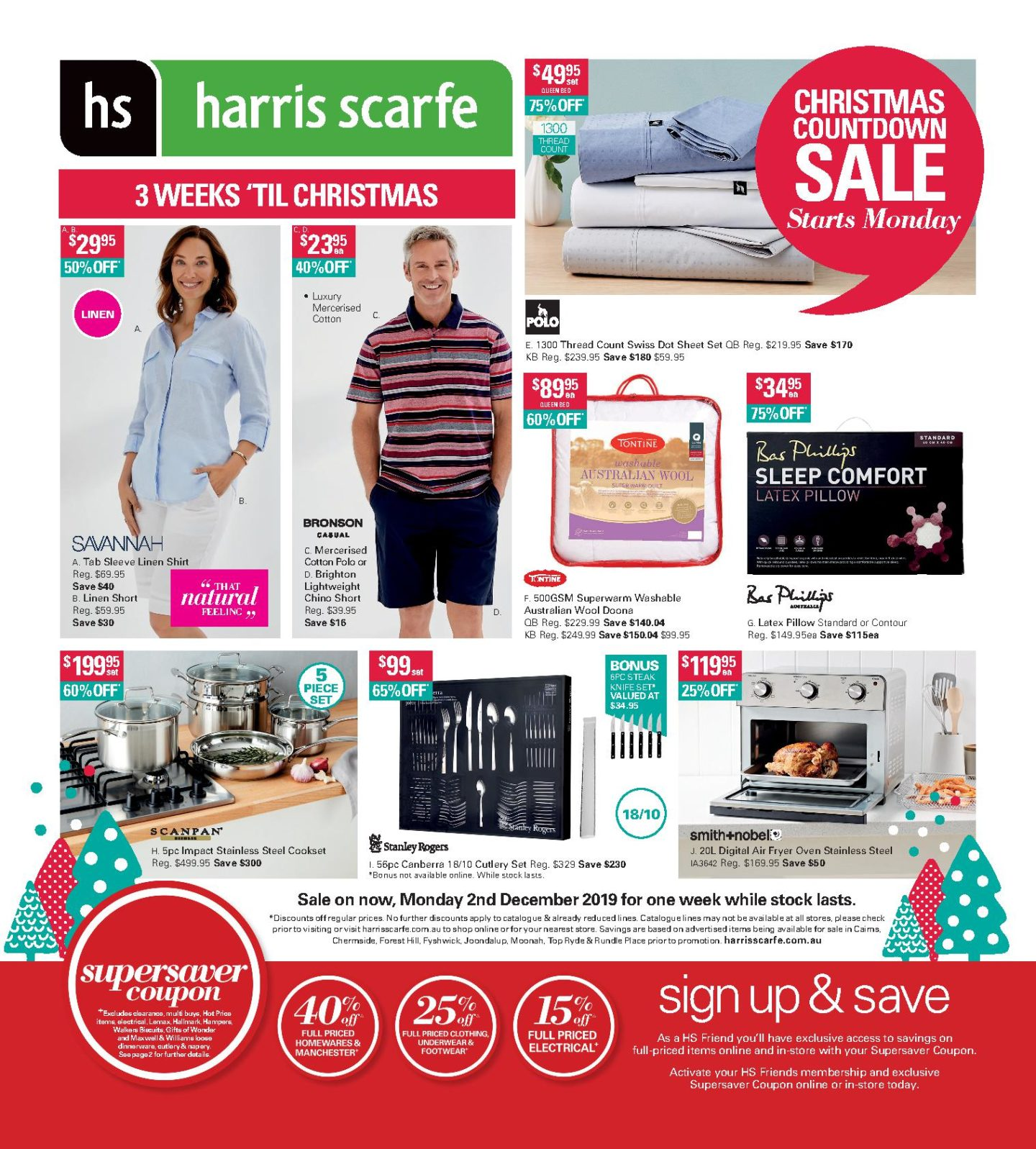 Harris Scarfe Catalogue 2 December - 8 December 2019. Christmas Countdown Sale!